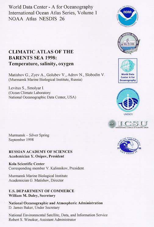 Climatic Atlas of the Barents Sea 1998: Temperature, Salinity, Oxygen