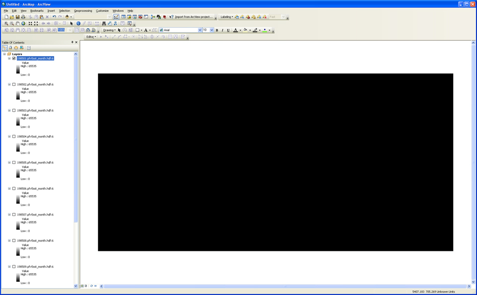 Image of initial import of .HDF SST file, subdataset 6