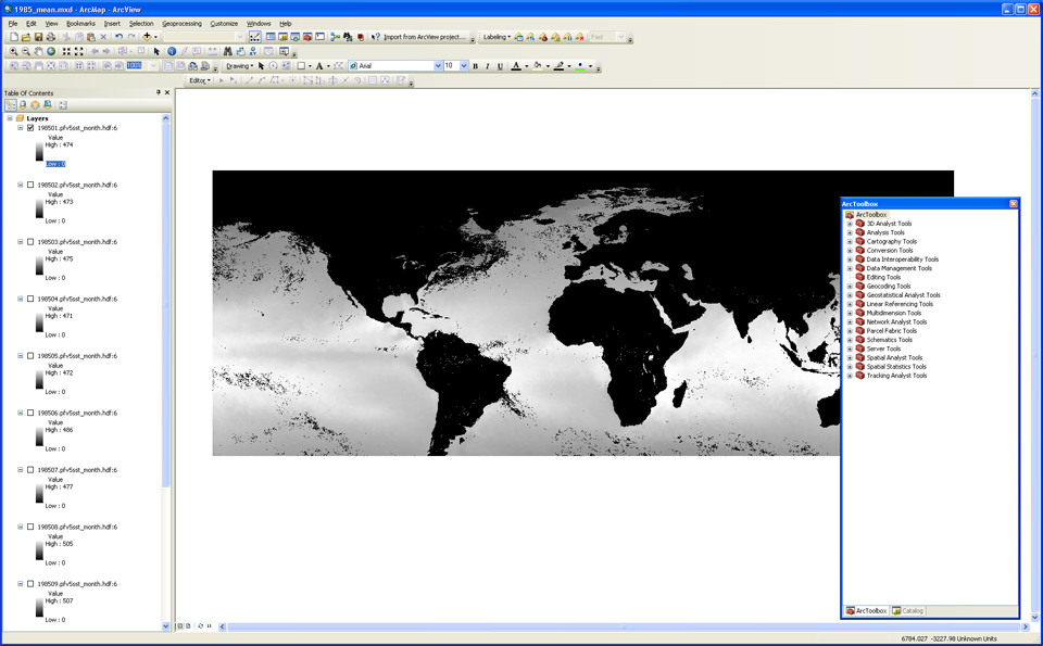 Image of SST layer with histogram completed, and ArcToolbox window