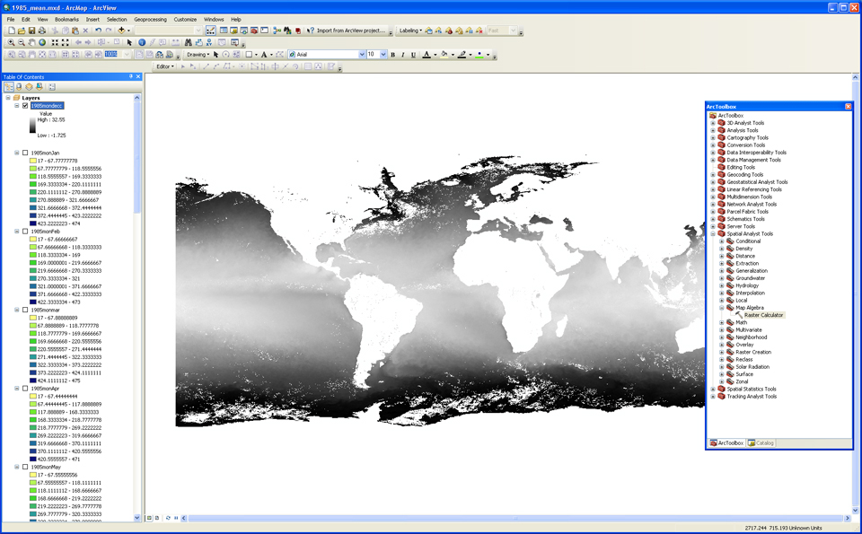 Image of monthly SST file after conversion to Celsius in ArcGIS v10