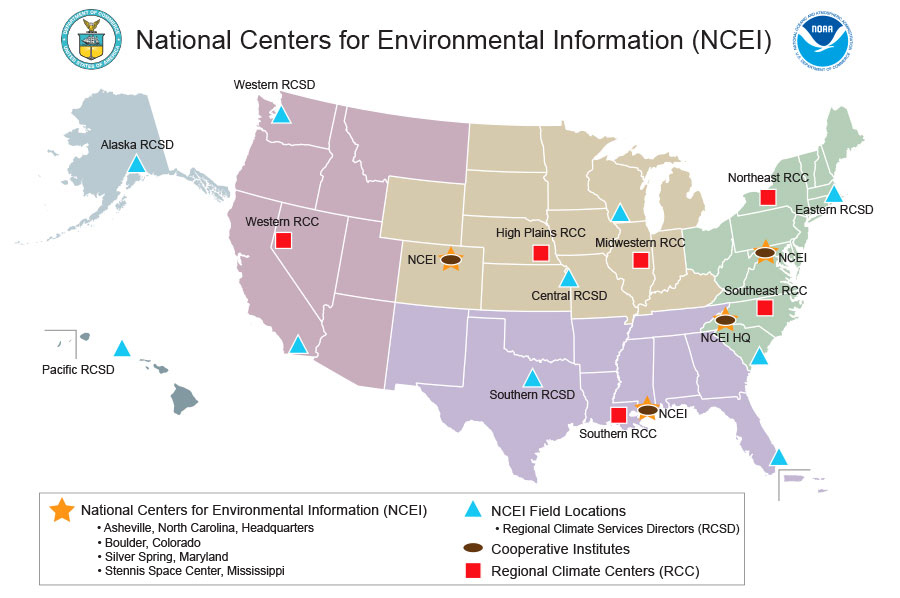 Map showing NOAA's National Centers for Environmental Information (NCEI)