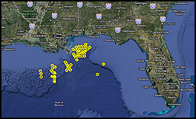 Cape Hatteras Data Plotted On A Google Map