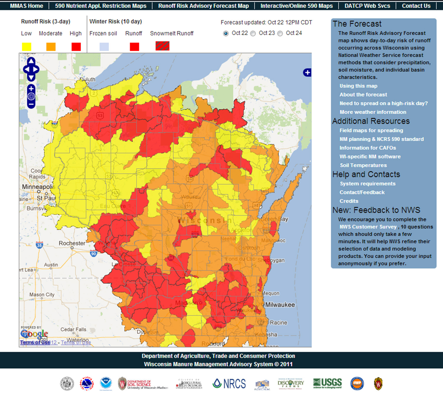 A screen shot of the Runoff Risk Advisory Forecast map which shows the day-to-day risk of runoff occurring across Wisconsin.