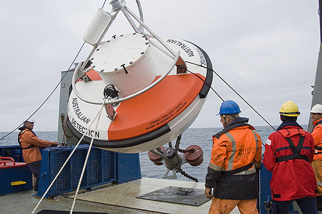 Australian DART II buoy built by SAIC and deployed in the Tasman Sea.  SAIC is NOAA's commercial partner licensed to build the DART buoys.   Photo credit:  Damir Lenc, Australian Bureau of Meteorology.